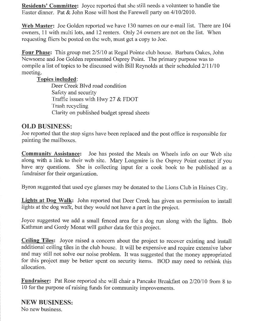 February 8, 2010 Monthly HOA Meeting Minutes